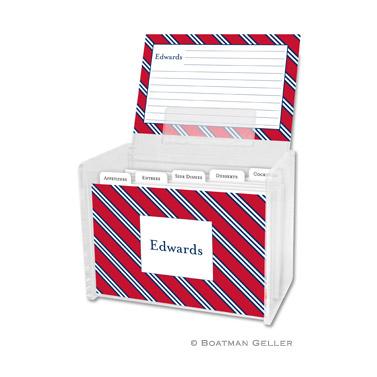 Repp Tie Red & Navy Recipe Box