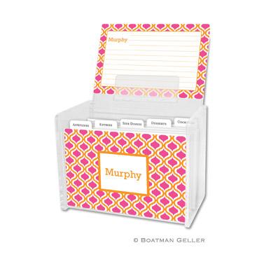 Personalized Recipe Box Kate Tangerine & Raspberry