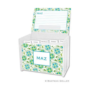 Suzani Teal Recipe Box