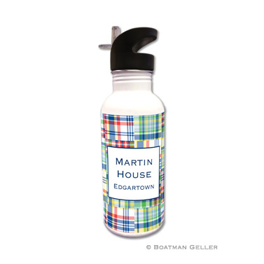 Madras Patch Blue Water Bottle