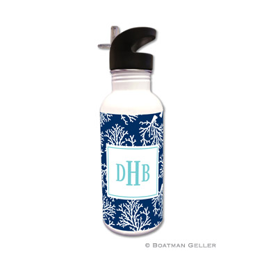 Coral Repeat Navy Water Bottle