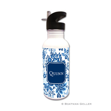 Classic Floral Blue Water Bottle