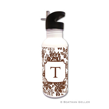 Classic Floral Brown Water Bottle