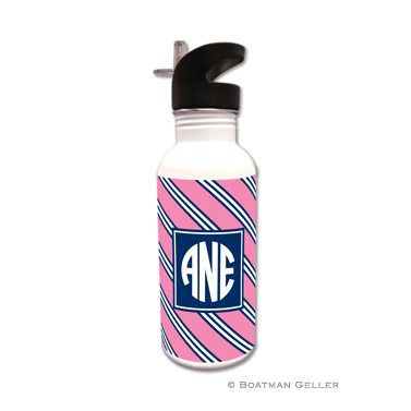 Repp Tie Pink & Navy Water Bottle