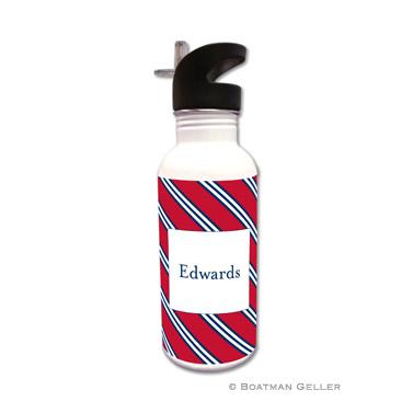 Repp Tie Red & Navy Water Bottle