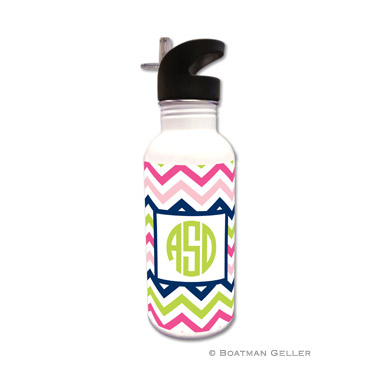 Chevron Pink, Navy & Lime Water Bottle