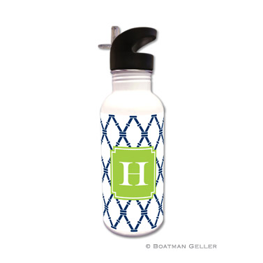 Bamboo Navy & Green Water Bottle