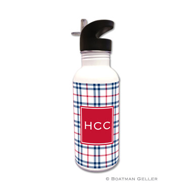 Miller Check Navy & Red Water Bottle