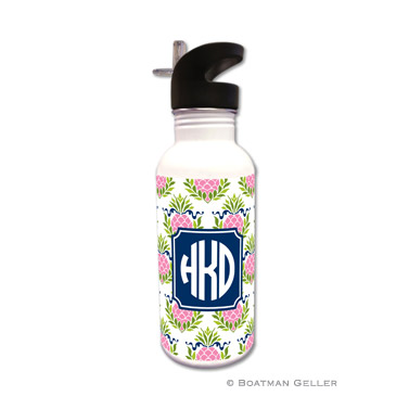 Pineapple Repeat Pink Water Bottle