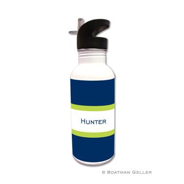 Stripe Navy & Lime Water Bottle
