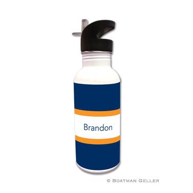 Stripe Navy & Tangerine Water Bottle