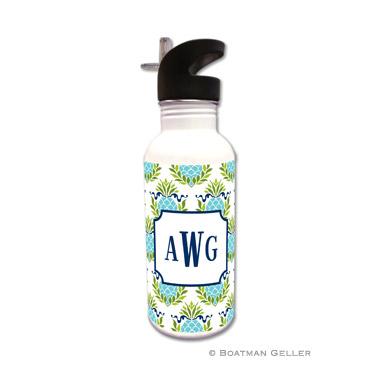 Pineapple Repeat Teal Water Bottle