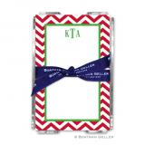 Chevron Red Holiday Note Sheet with Acrylic Holder by Boatman Geller