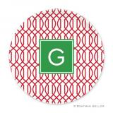 Trellis Reverse Cherry Holiday Plate by Boatman Geller