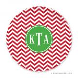 Chevron Red Holiday Plate by Boatman Geller