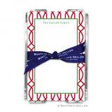 Trellis Reverse Cherry Holiday Note Sheet with Acrylic Holder by Boatman Geller