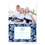 Coral Repeat Navy Flat Holiday Photocard by Boatman Geller