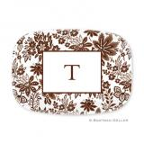 Classic Floral Brown Personalized Platter by Boatman Geller