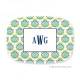 Pineapple Repeat Teal Personalized Platter by Boatman Geller