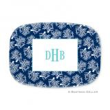 Coral Repeat Navy Personalized Platter by Boatman Geller