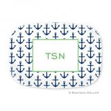 Anchors Navy Personalized Platter by Boatman Geller