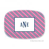 Repp Tie Pink & Navy Personalized Platter by Boatman Geller