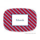 Repp Tie Red & Navy Personalized Platter by Boatman Geller