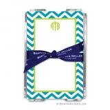 Chevron Turquoise Note Sheets in Acrylic Holder by Boatman Geller