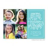 Merry & Bright Teal Flat Holiday Photocard by Boatman Geller