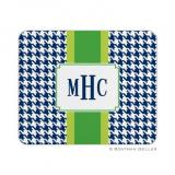Alex Houndstooth Navy Mouse Pad by Boatman Geller