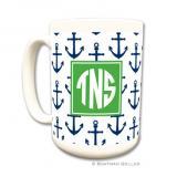 Anchors Navy Coffee Mug by Boatman Geller