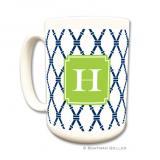 Bamboo Navy & Green Coffee Mug by Boatman Geller