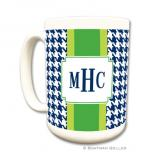 Alex Houndstooth Navy Coffee Mug by Boatman Geller