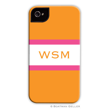 iPod & iPhone Cell Phone Case - Stripe Tangerine & Raspberry