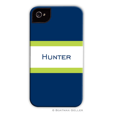 iPod & iPhone Cell Phone Case - Stripe Navy & Lime