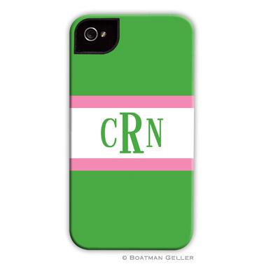 iPod & iPhone Cell Phone Case - Stripe Kelly & Bubblegum