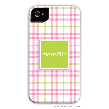 iPod & iPhone Cell Phone Case - Miller Check Pink & Green