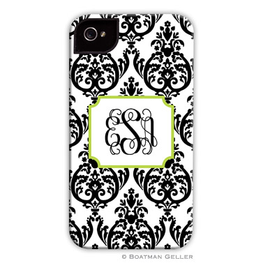 iPod & iPhone Cell Phone Case - Madison Damask White with Black