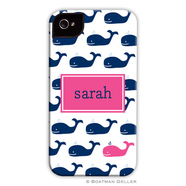 iPod & iPhone Cell Phone Case - Whale Repeat Navy
