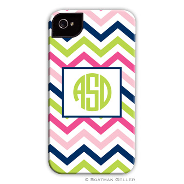 iPod & iPhone Cell Phone Case - Chevron Pink, Navy & Lime