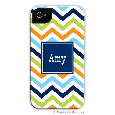 iPod & iPhone Cell Phone Case - Chevron Blue, Orange & Lime