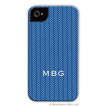 iPod & iPhone Cell Phone Case - Herringbone Blue