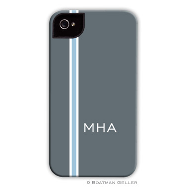 iPod & iPhone Cell Phone Case - Racing Stripe Charcoal & Light Blue by Boatman Geller, Discounted
