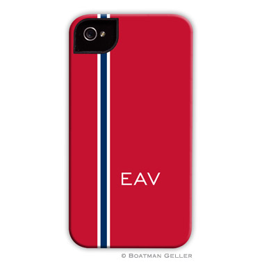 iPod & iPhone Cell Phone Case - Racing Stripe Red & Navy