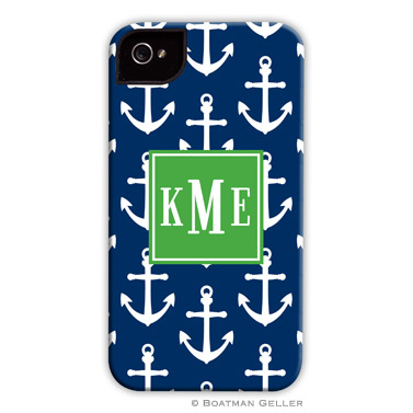 iPod & iPhone Cell Phone Case - Anchors White on Navy