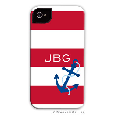 iPod & iPhone Cell Phone Case - Stripe Anchor Red