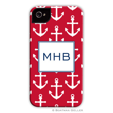 iPod & iPhone Cell Phone Case - Anchors White on Red
