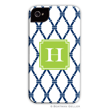 iPod & iPhone Cell Phone Case - Bamboo Navy & Green