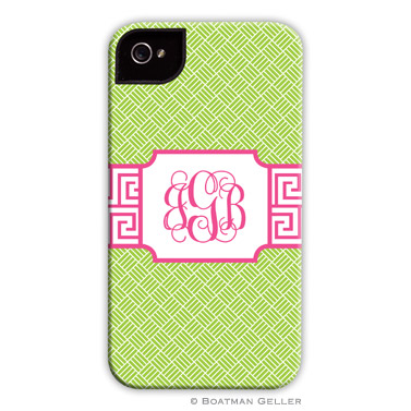 iPod & iPhone Cell Phone Case - Greek Key Band Pink