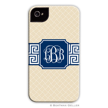 iPod & iPhone Cell Phone Case - Greek Key Band Navy